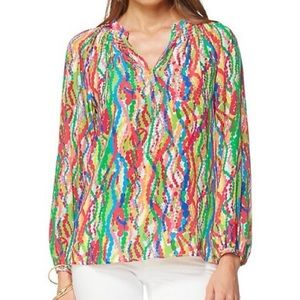 LILLY PULITZER Top Elsa Silk Dripping in Jewels XS